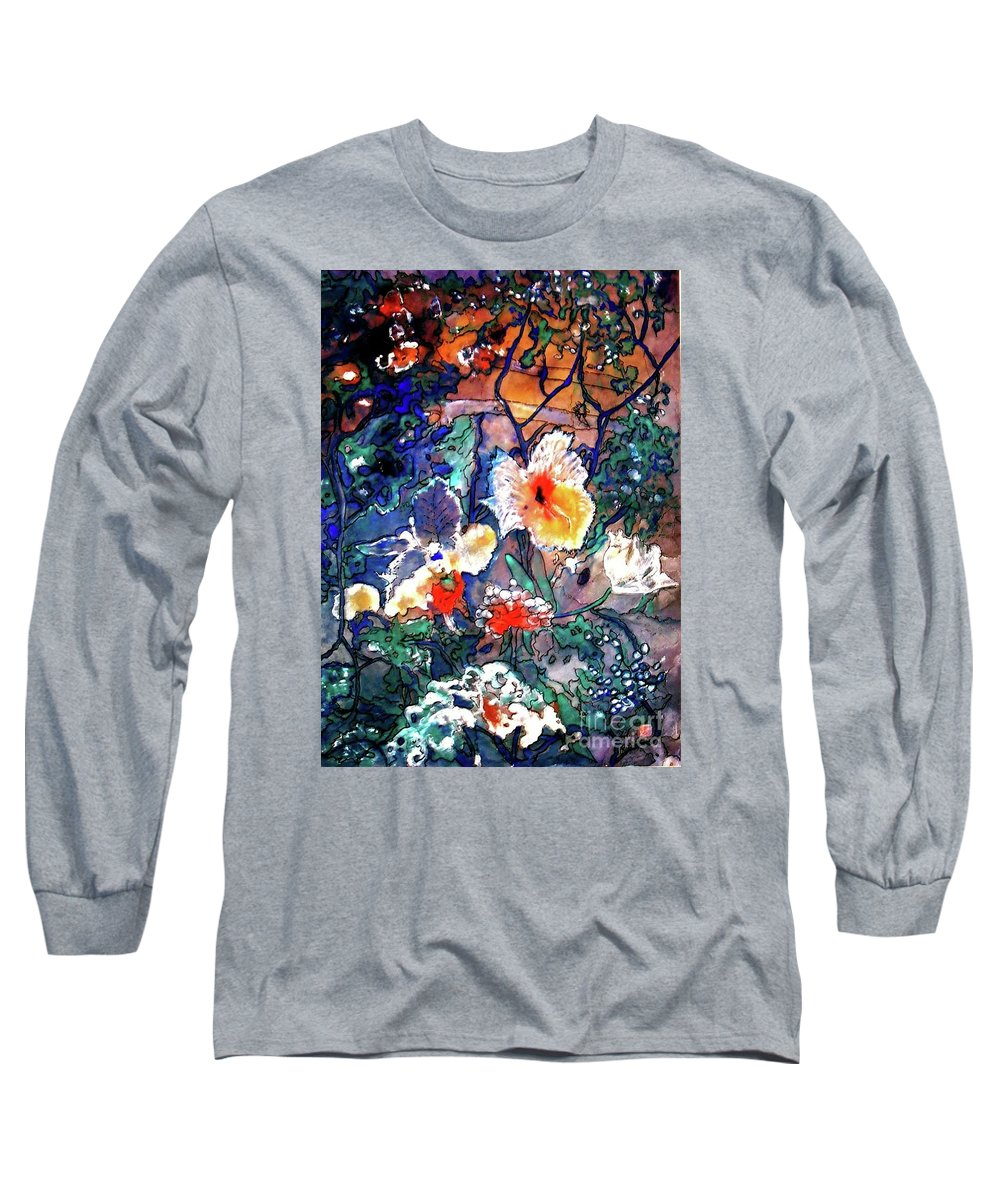 Landscape Long Sleeve T-Shirt featuring the painting Enchanted Garden by Norma Boeckler