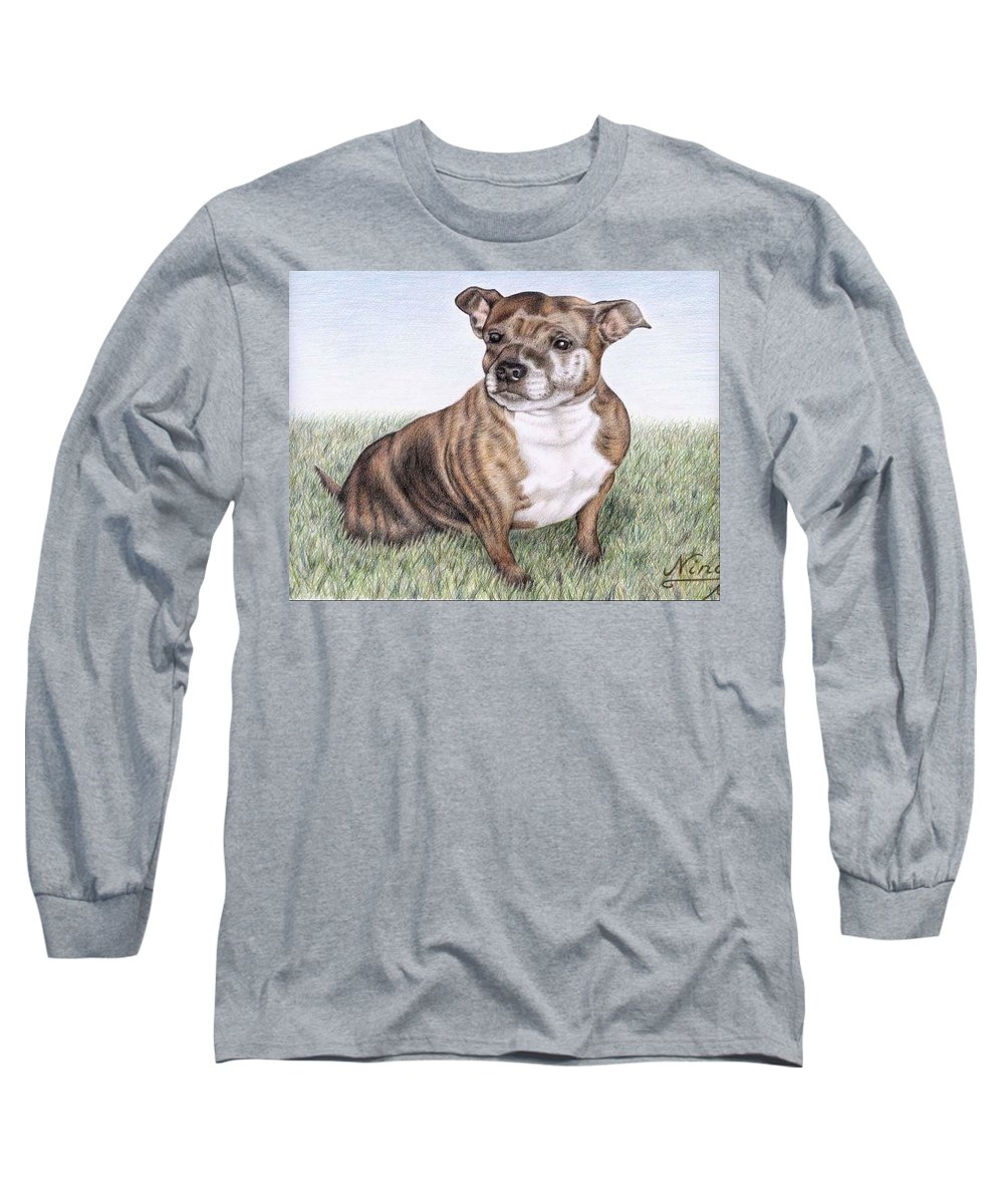 Dog Long Sleeve T-Shirt featuring the drawing English Staffordshire Terrier by Nicole Zeug