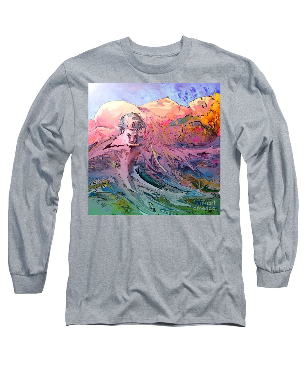 Miki Long Sleeve T-Shirt featuring the painting Eroscape 10 by Miki De Goodaboom