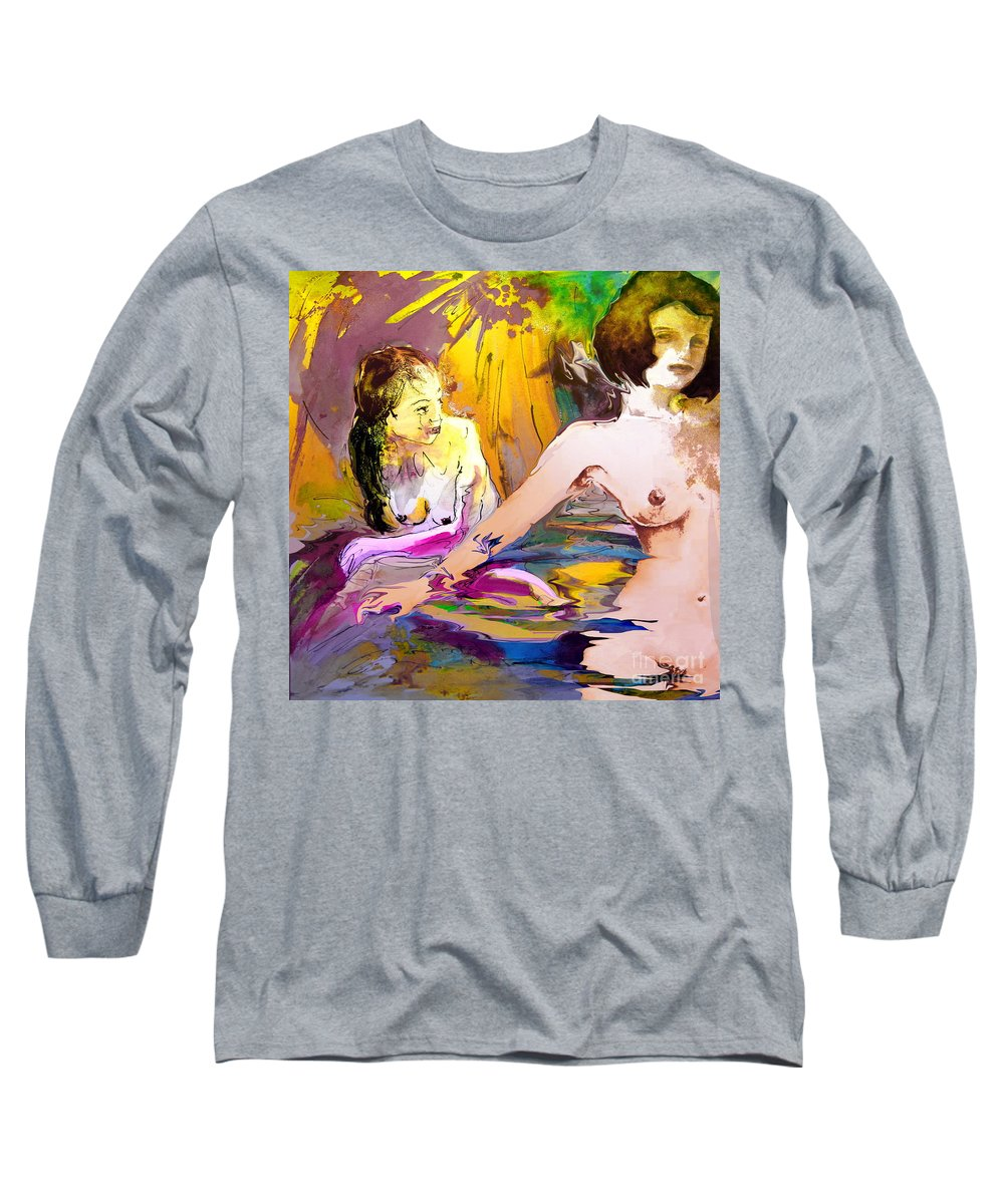 Miki Long Sleeve T-Shirt featuring the painting Eroscape 15 2 by Miki De Goodaboom
