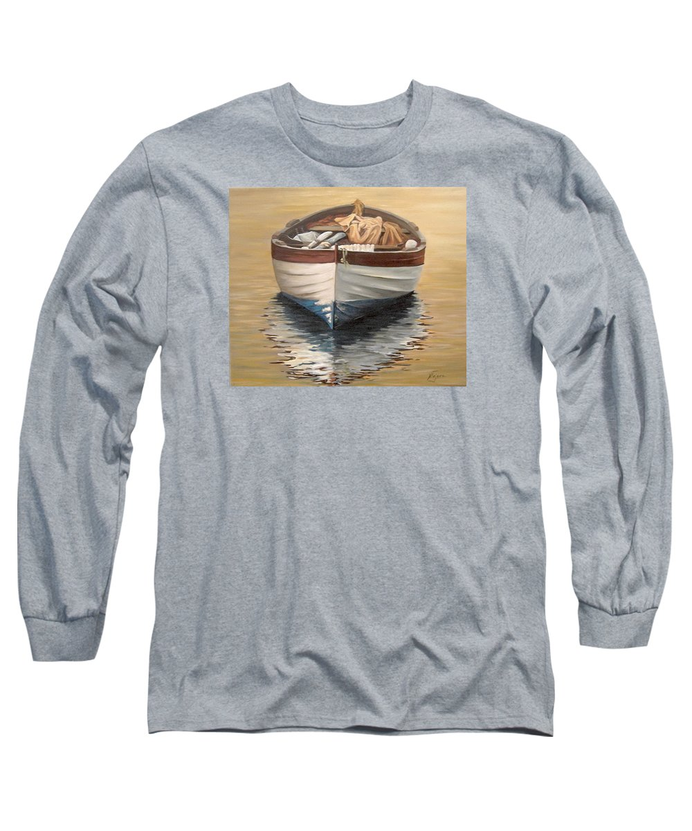 Boats Reflection Seascape Water Long Sleeve T-Shirt featuring the painting Evening Boat by Natalia Tejera