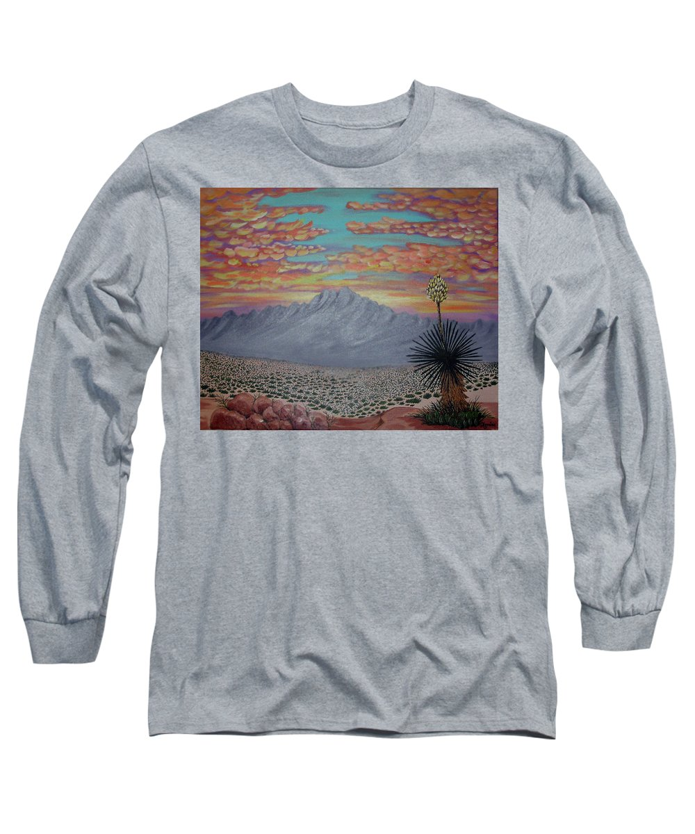 Desertscape Long Sleeve T-Shirt featuring the painting Evening In The Desert by Marco Morales
