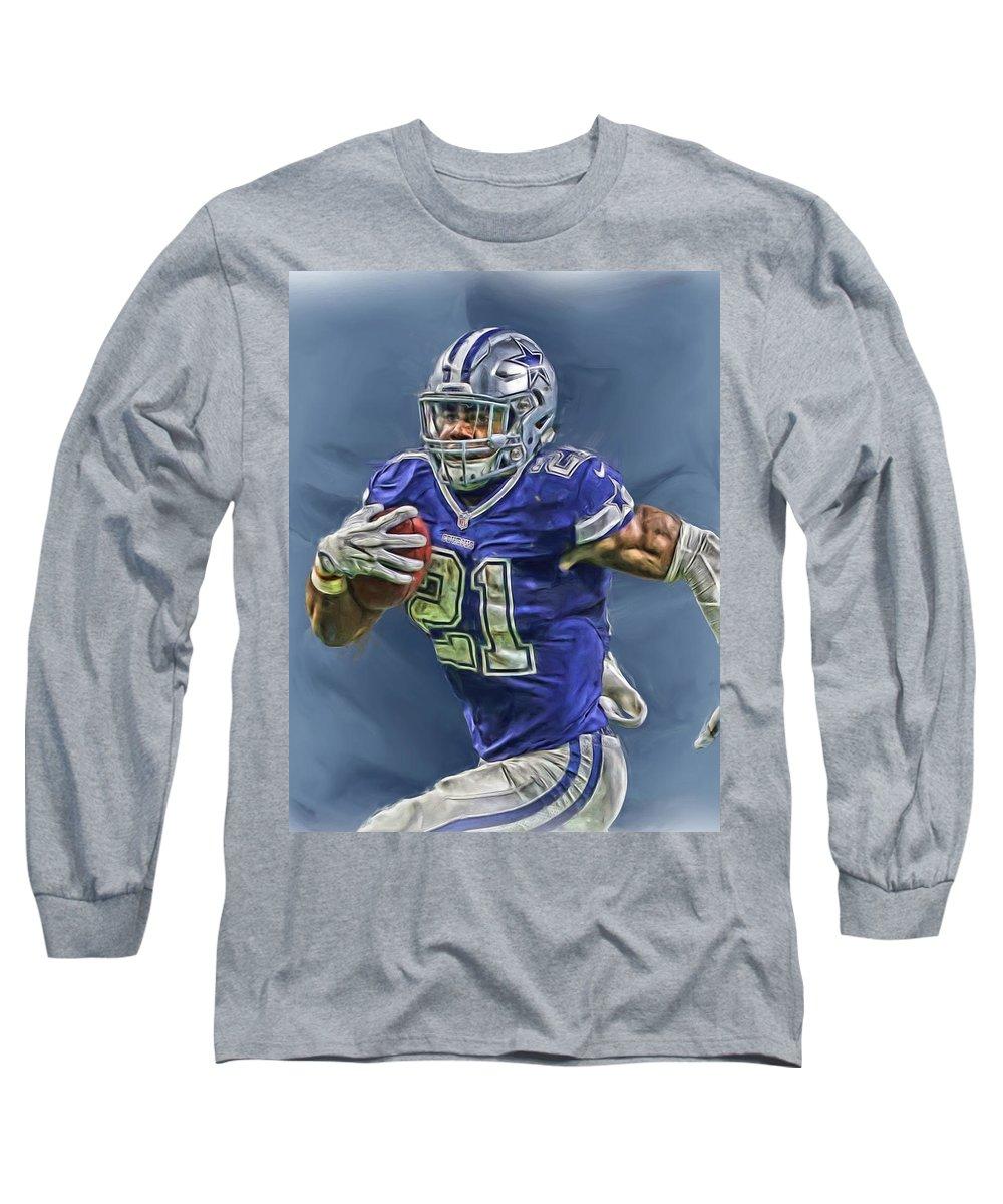 lowest price 28c88 c34ef Ezekiel Elliott Dallas Cowboys Oil Painting 2 Long Sleeve T-Shirt