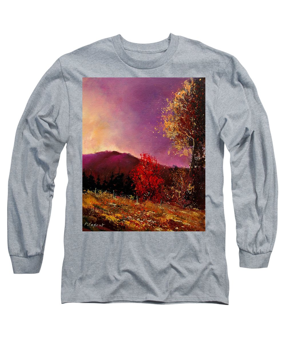 River Long Sleeve T-Shirt featuring the painting Fall Colors by Pol Ledent