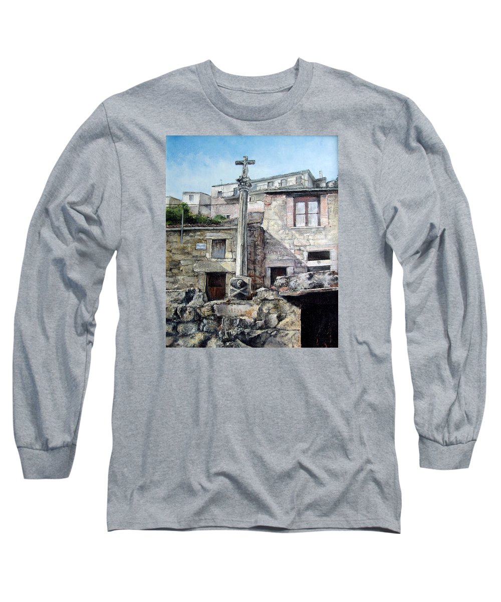 Fermoselle Long Sleeve T-Shirt featuring the painting Fermoselle.-crucero by Tomas Castano