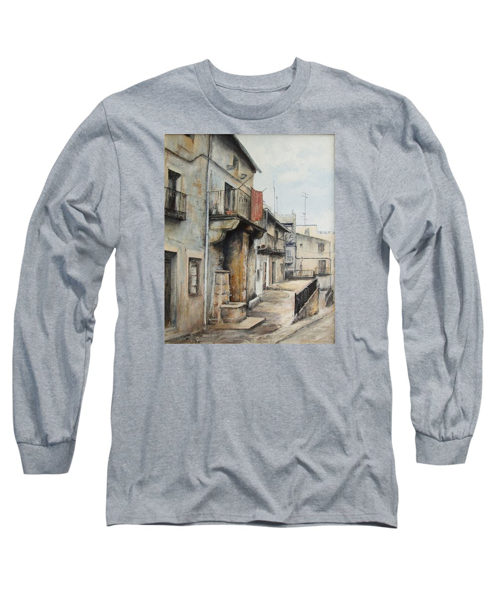 Fermoselle Zamora Spain Oil Painting City Scapes Urban Art Long Sleeve T-Shirt featuring the painting Fermoselle by Tomas Castano