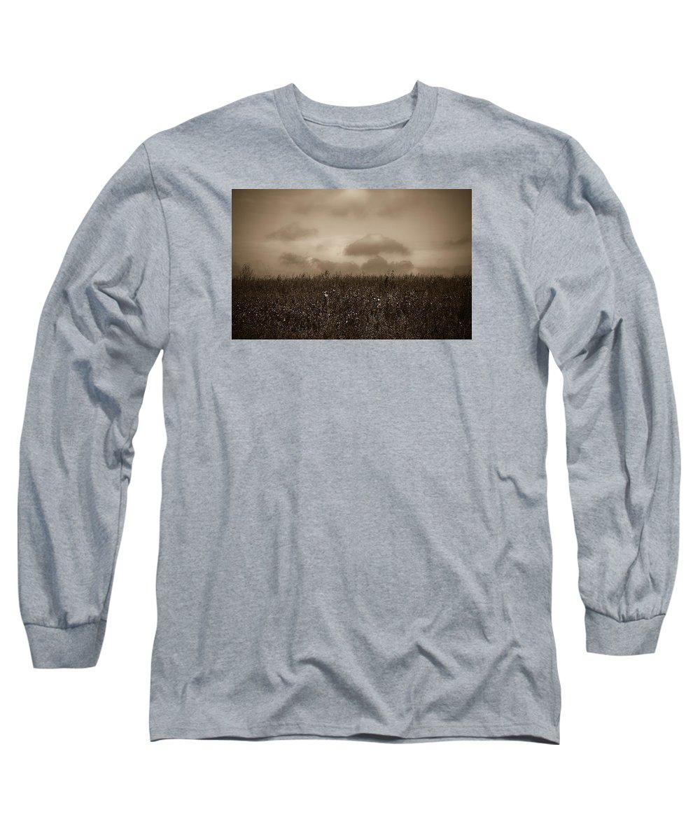 Poland Long Sleeve T-Shirt featuring the photograph Field In Sepia Northern Poland by Michael Ziegler