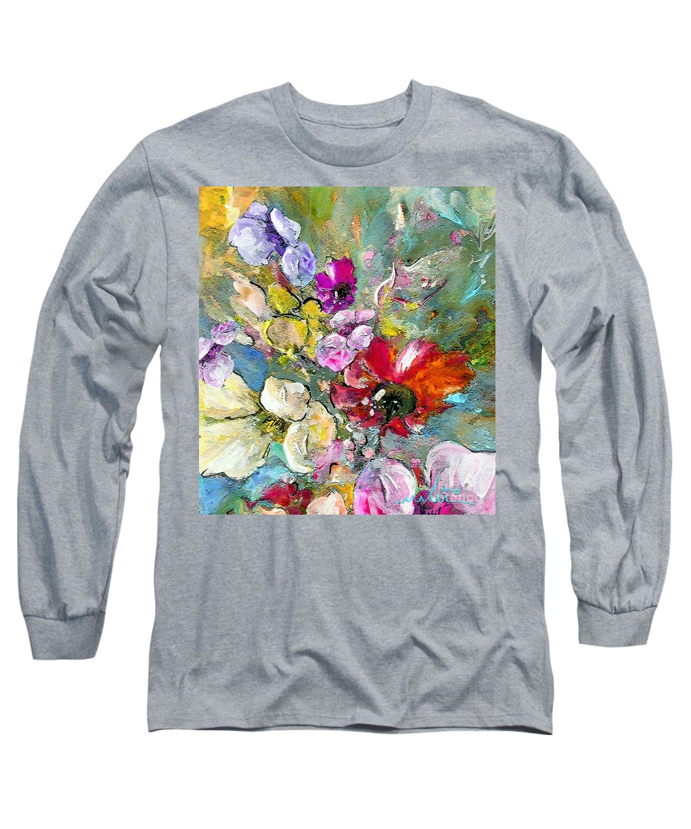 Nature Painting Long Sleeve T-Shirt featuring the painting First Flowers by Miki De Goodaboom