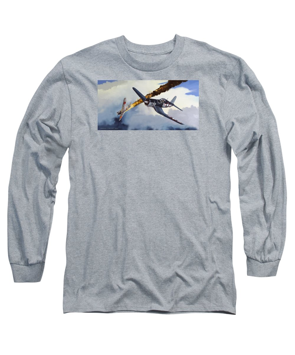 Military Long Sleeve T-Shirt featuring the painting First Kill For The Jolly Rogers by Marc Stewart