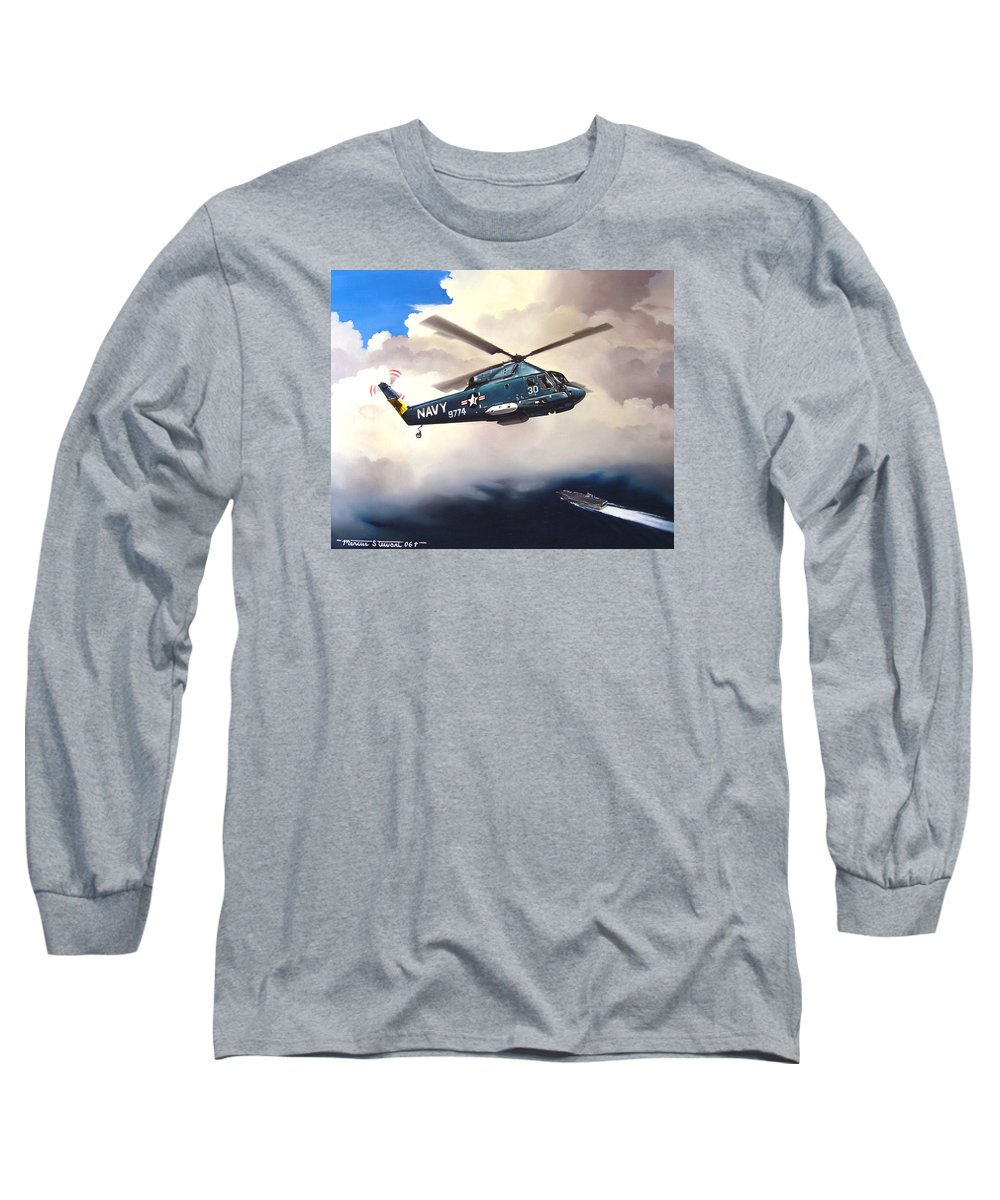 Military Long Sleeve T-Shirt featuring the painting Flight Of The Seasprite by Marc Stewart