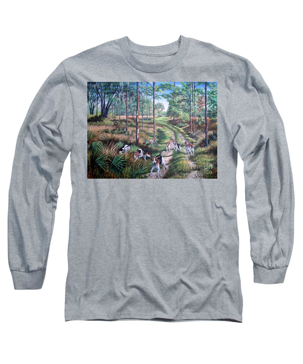 Dogs Long Sleeve T-Shirt featuring the painting Backwoods Pursuit - Good Ole Country Music by Daniel Butler