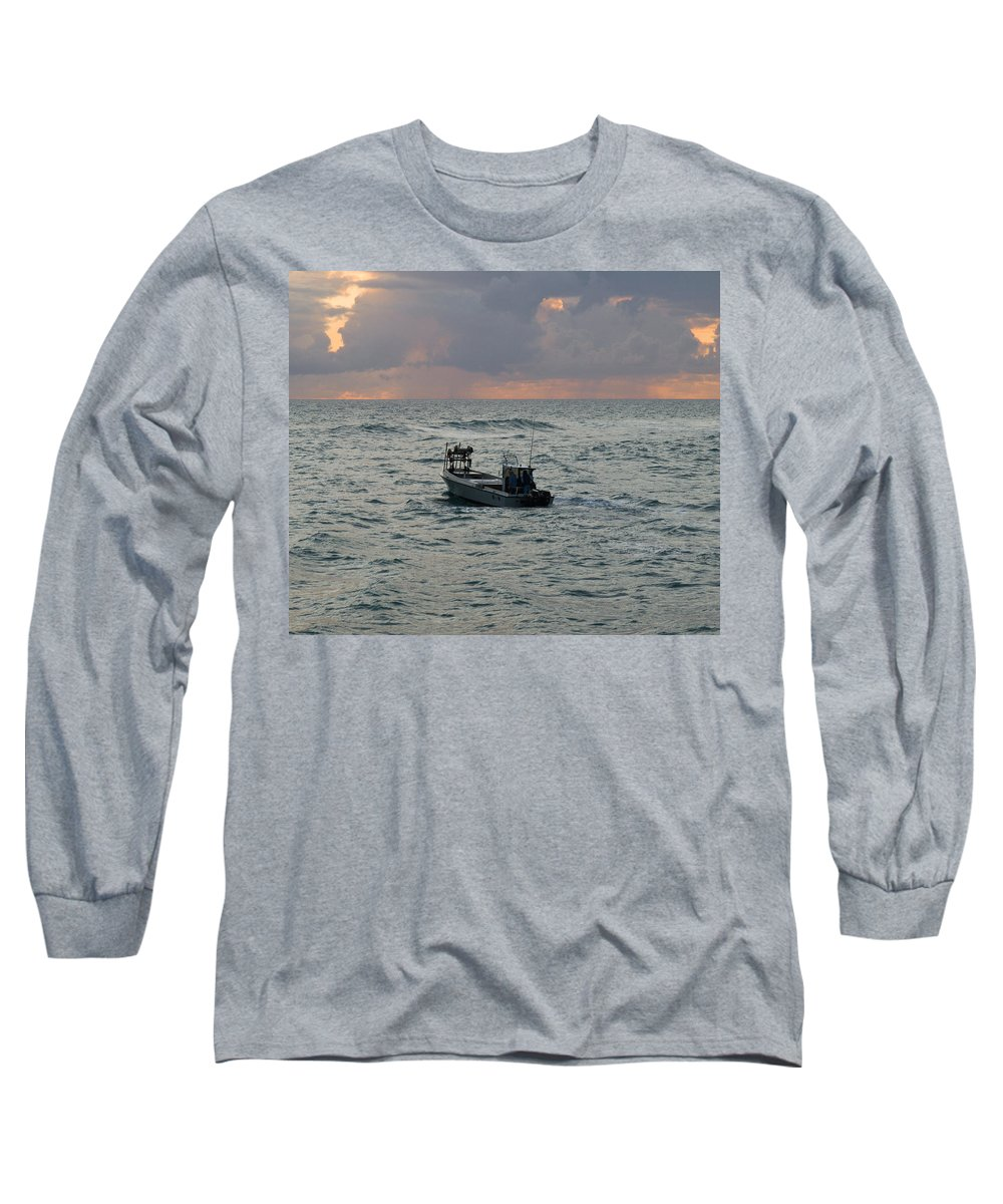Florida; Lobster; Lobstermen; Lobsterman; Boat; Trap; Catch; Haul; Traps; Sebastian; Inlet; Atlantic Long Sleeve T-Shirt featuring the photograph Florida Lobstermen At Dawn by Allan Hughes