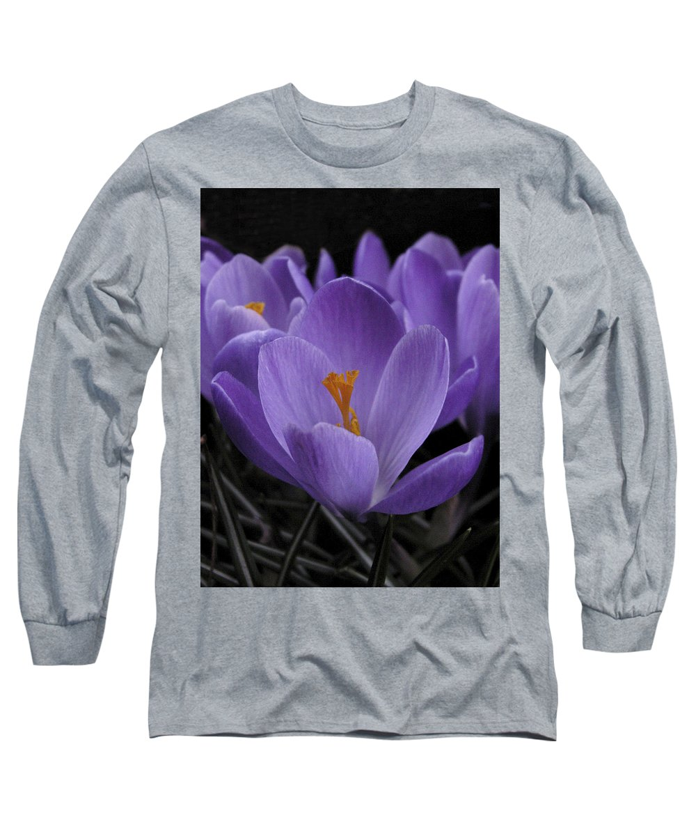 Flowers Long Sleeve T-Shirt featuring the photograph Flower Crocus by Nancy Griswold