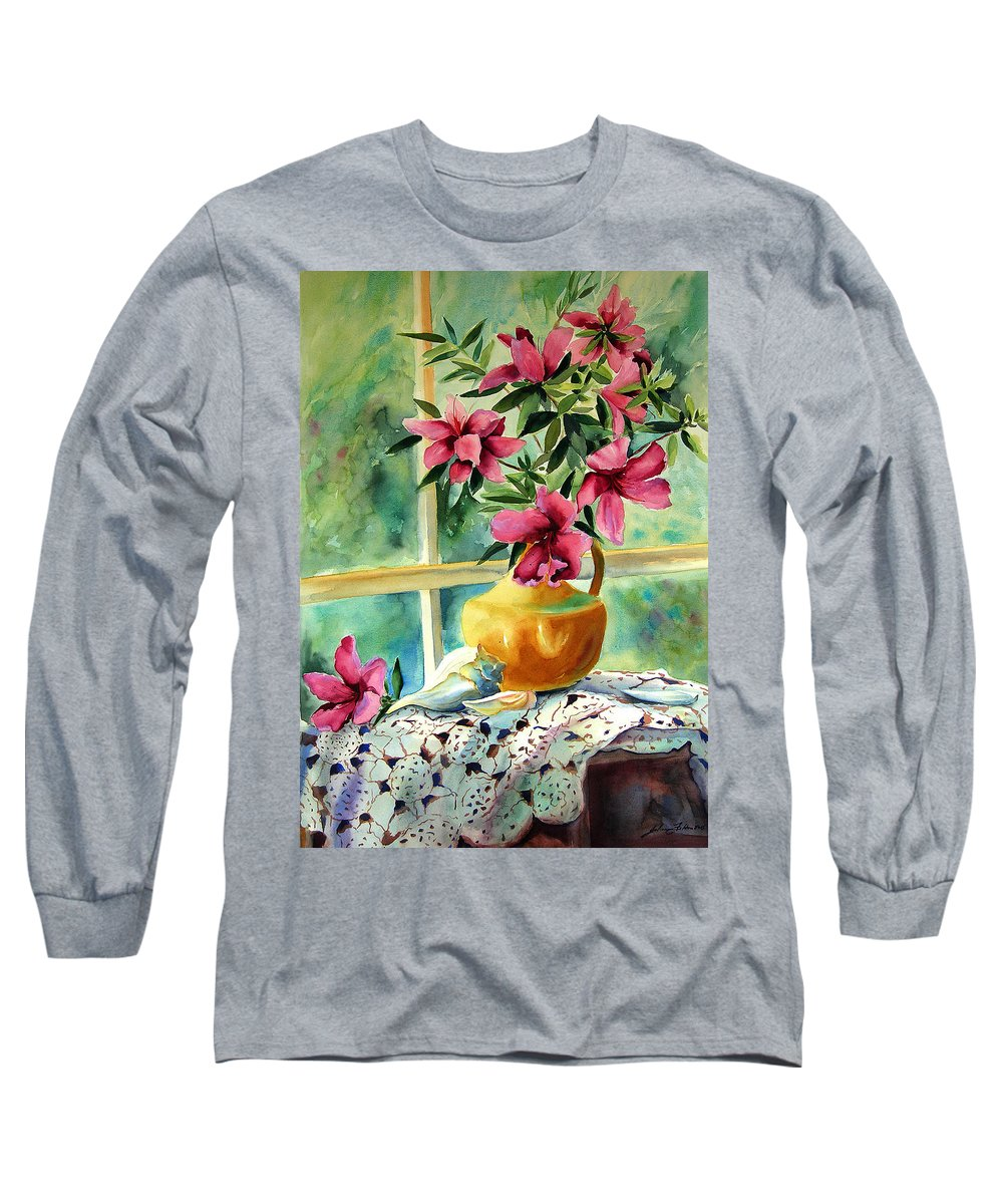 Original Watercolors Long Sleeve T-Shirt featuring the painting Flowers Shells And Lace by Julianne Felton