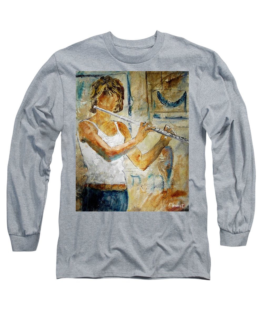 Music Long Sleeve T-Shirt featuring the painting Flutist by Pol Ledent