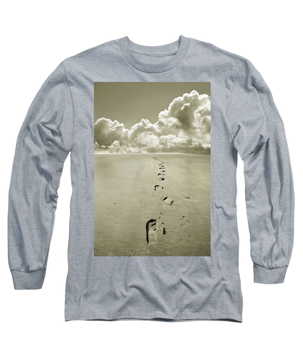 Footprints Long Sleeve T-Shirt featuring the photograph Footprints In Sand by Mal Bray