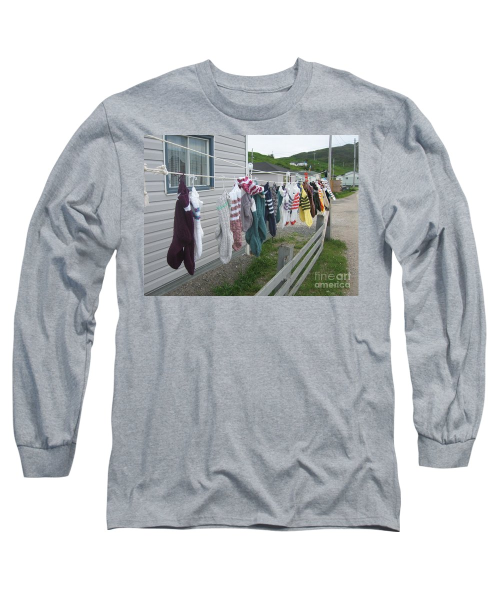 Knitted Socks Newfoundland Long Sleeve T-Shirt featuring the photograph For Sale by Seon-Jeong Kim