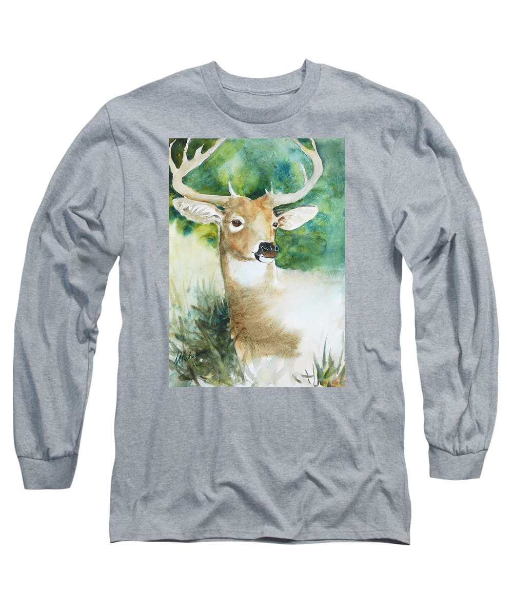 Deer Long Sleeve T-Shirt featuring the painting Forest Spirit by Christie Michelsen