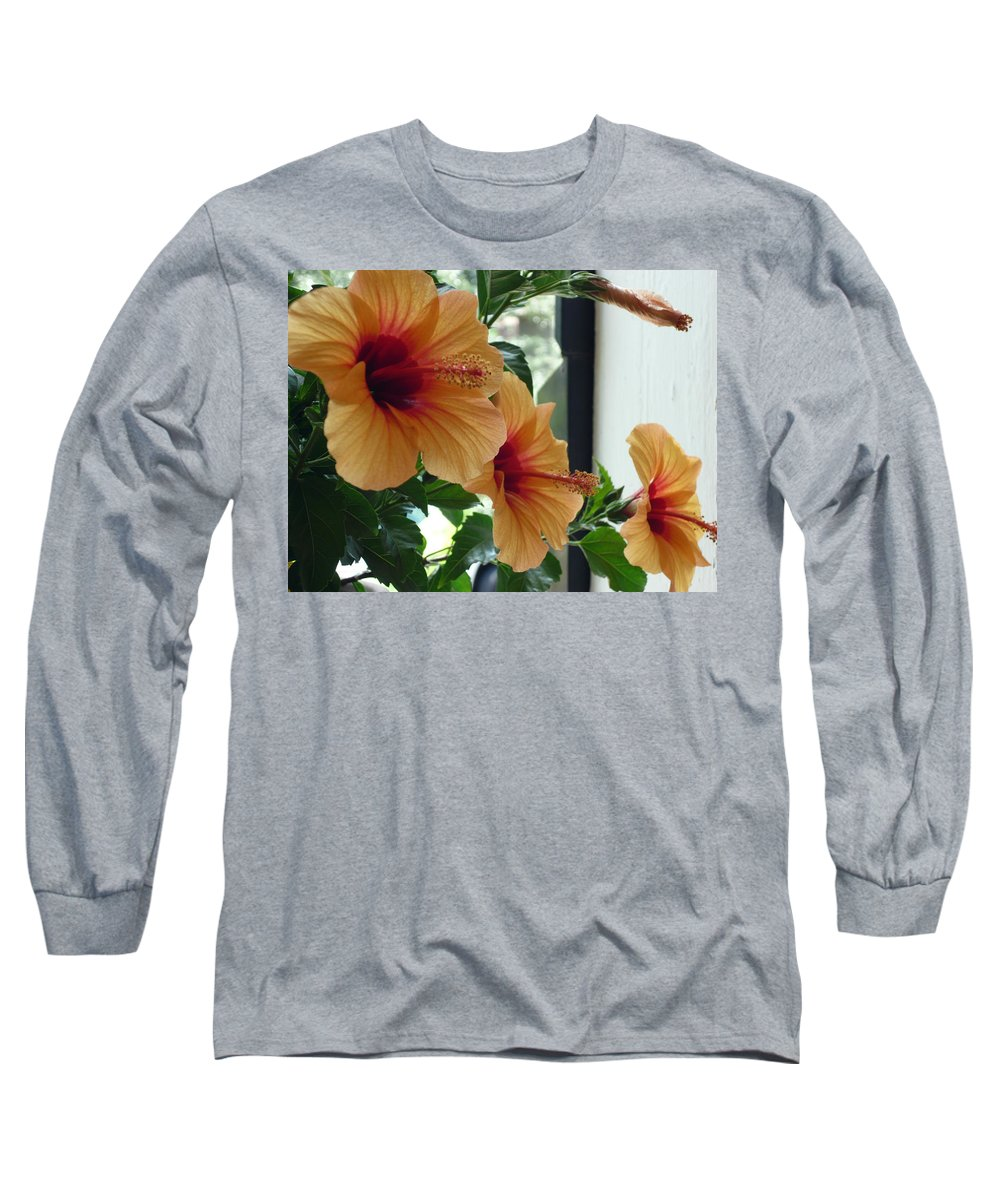 Photography Flower Floral Bloom Hibiscus Peach Long Sleeve T-Shirt featuring the photograph Friends For A Day by Karin Dawn Kelshall- Best
