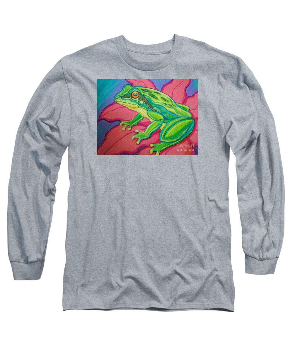 Frog Long Sleeve T-Shirt featuring the drawing Frog On Flower by Nick Gustafson