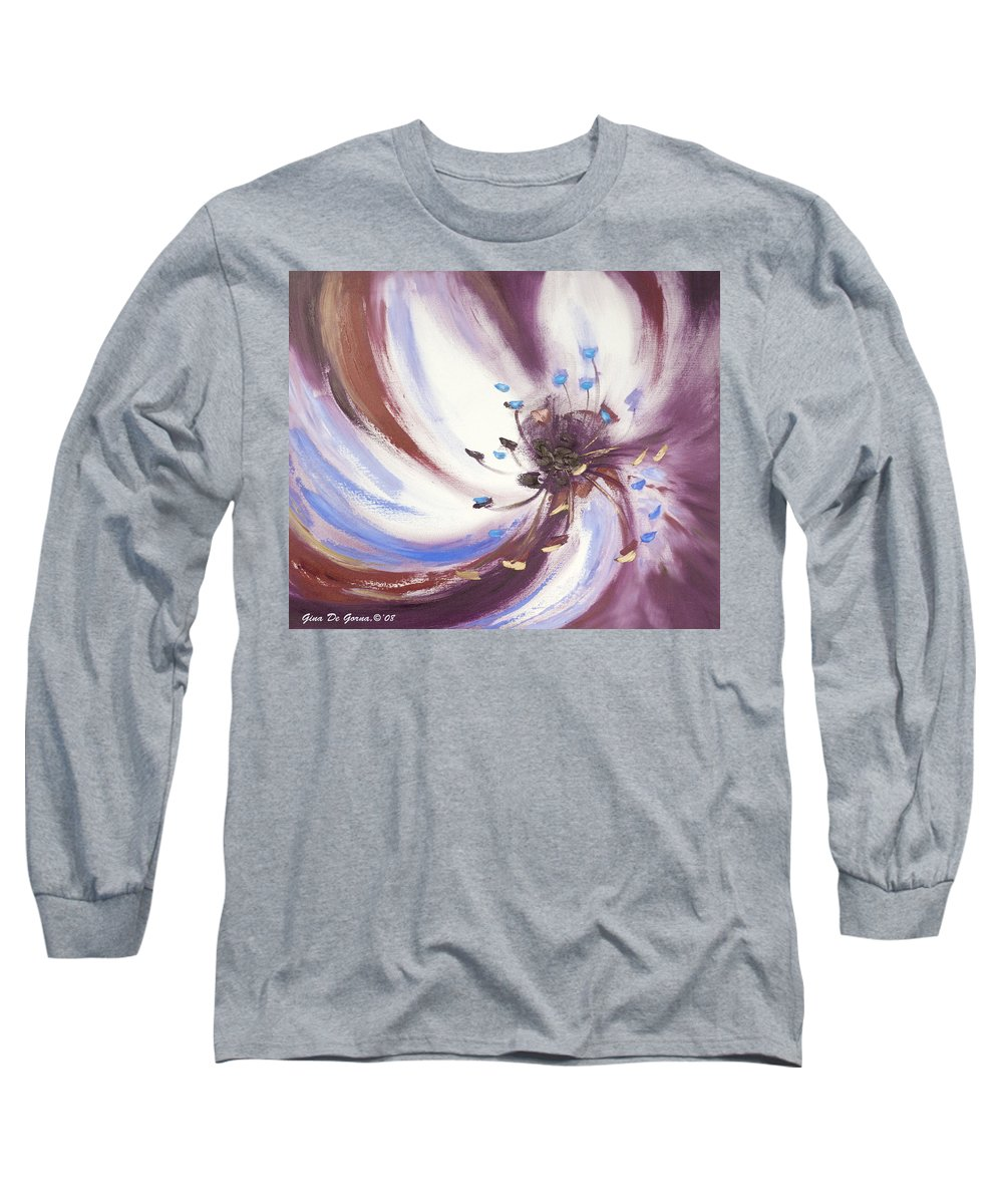 Brown Long Sleeve T-Shirt featuring the painting From The Heart Of A Flower Brown 2 by Gina De Gorna
