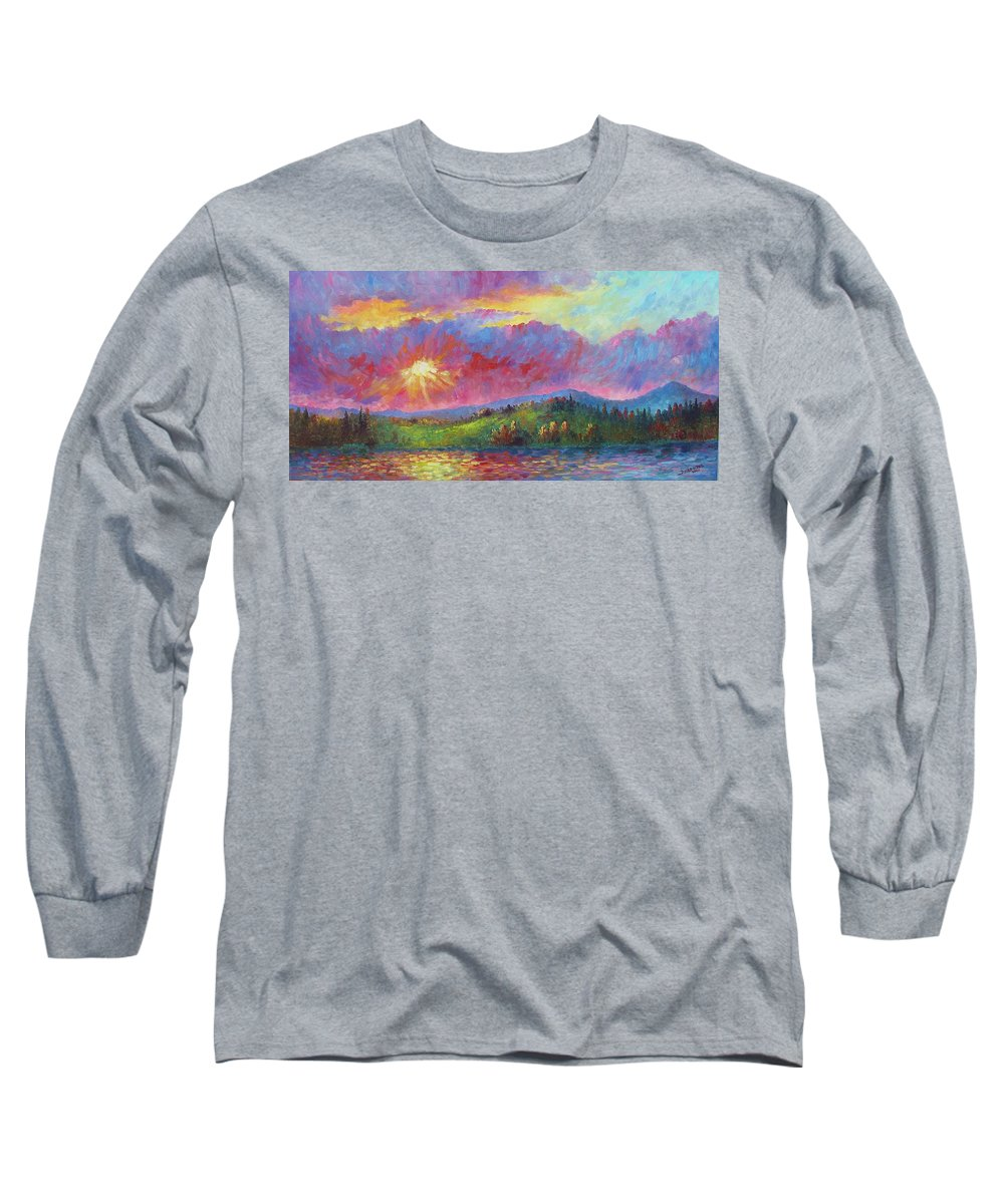 Landscape Long Sleeve T-Shirt featuring the painting Front Range Sunset by David G Paul
