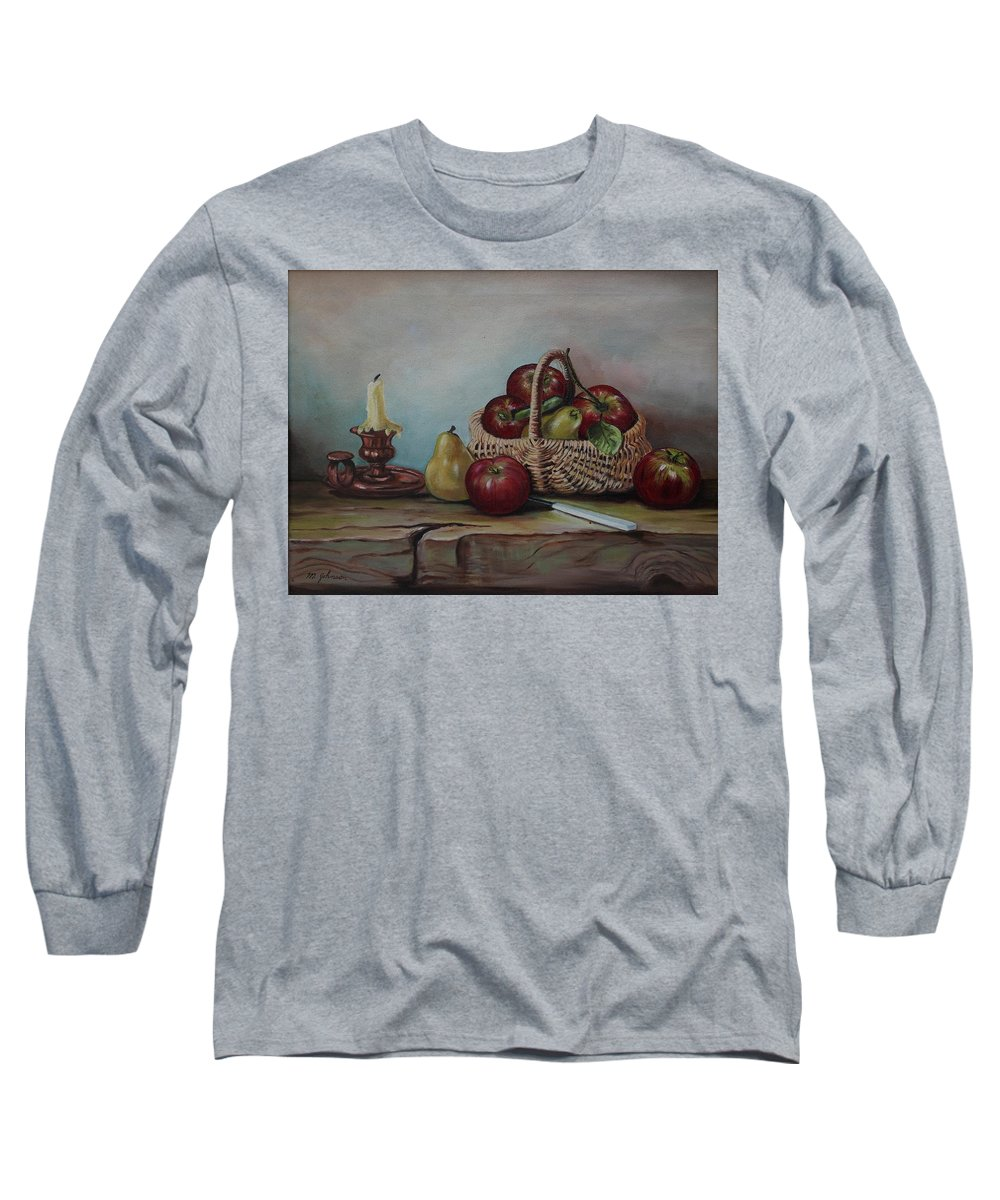 Fruit Basket Long Sleeve T-Shirt featuring the painting Fruit Basket - Lmj by Ruth Kamenev