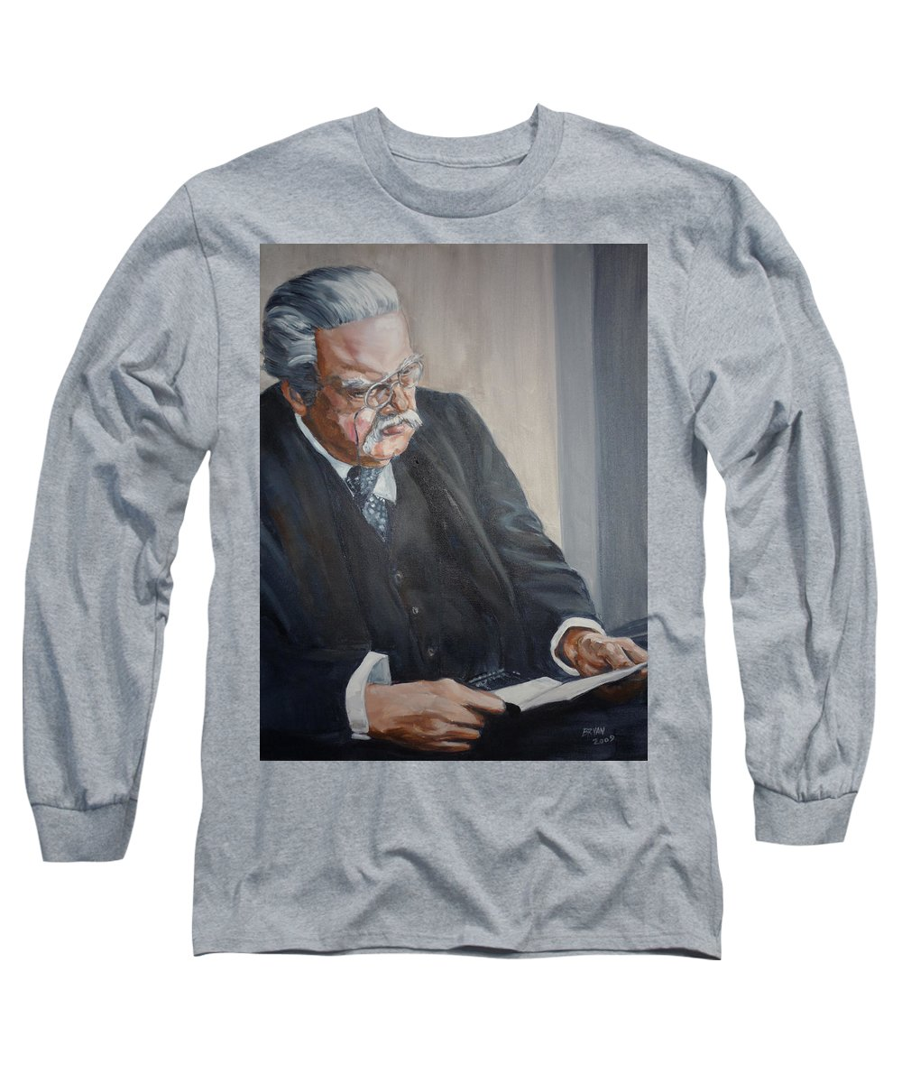 Chesterton Author Catholic Long Sleeve T-Shirt featuring the painting G K Chesterton by Bryan Bustard