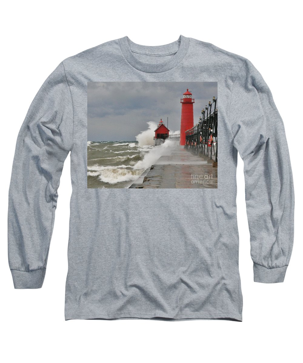 Light House Long Sleeve T-Shirt featuring the photograph Gale Warnings by Robert Pearson