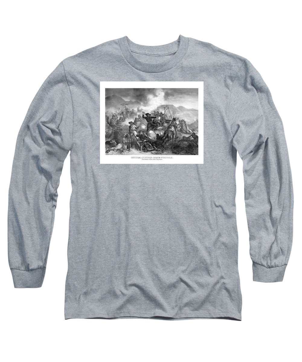 General Custer Long Sleeve T-Shirt featuring the drawing General Custer's Death Struggle by War Is Hell Store