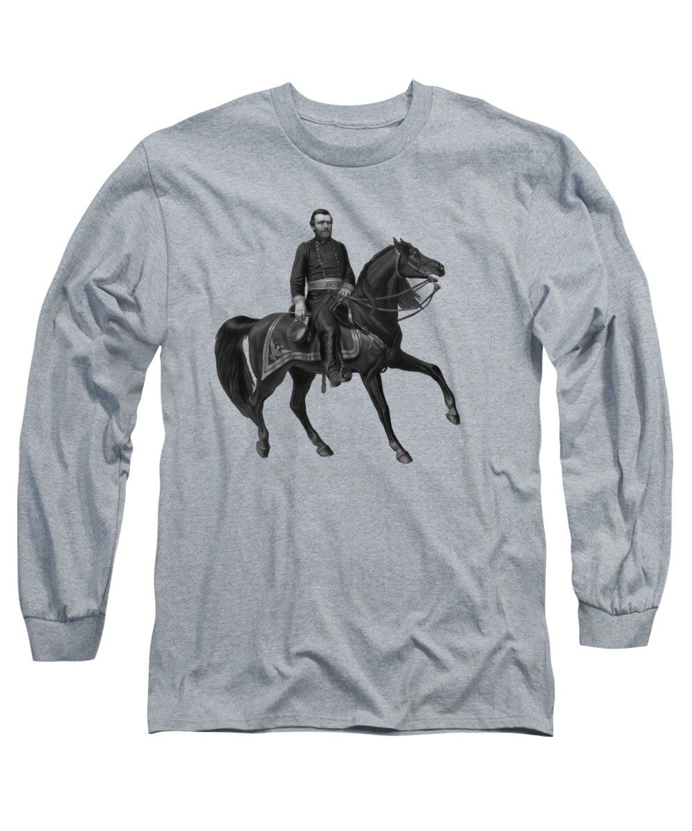 Civil War Long Sleeve T-Shirt featuring the painting General Grant On Horseback by War Is Hell Store