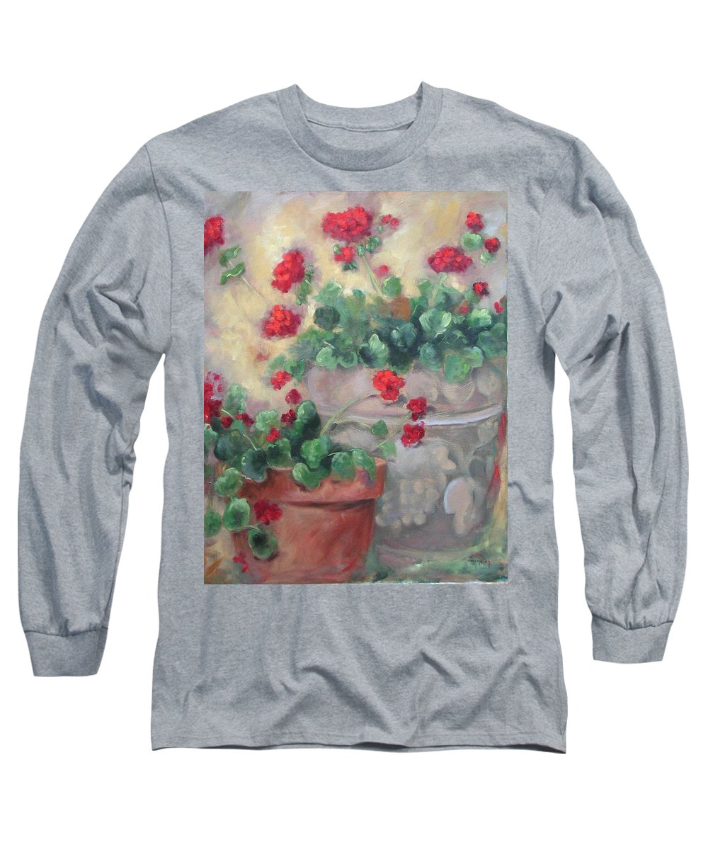 Geraniums Long Sleeve T-Shirt featuring the painting Geraniums by Ginger Concepcion