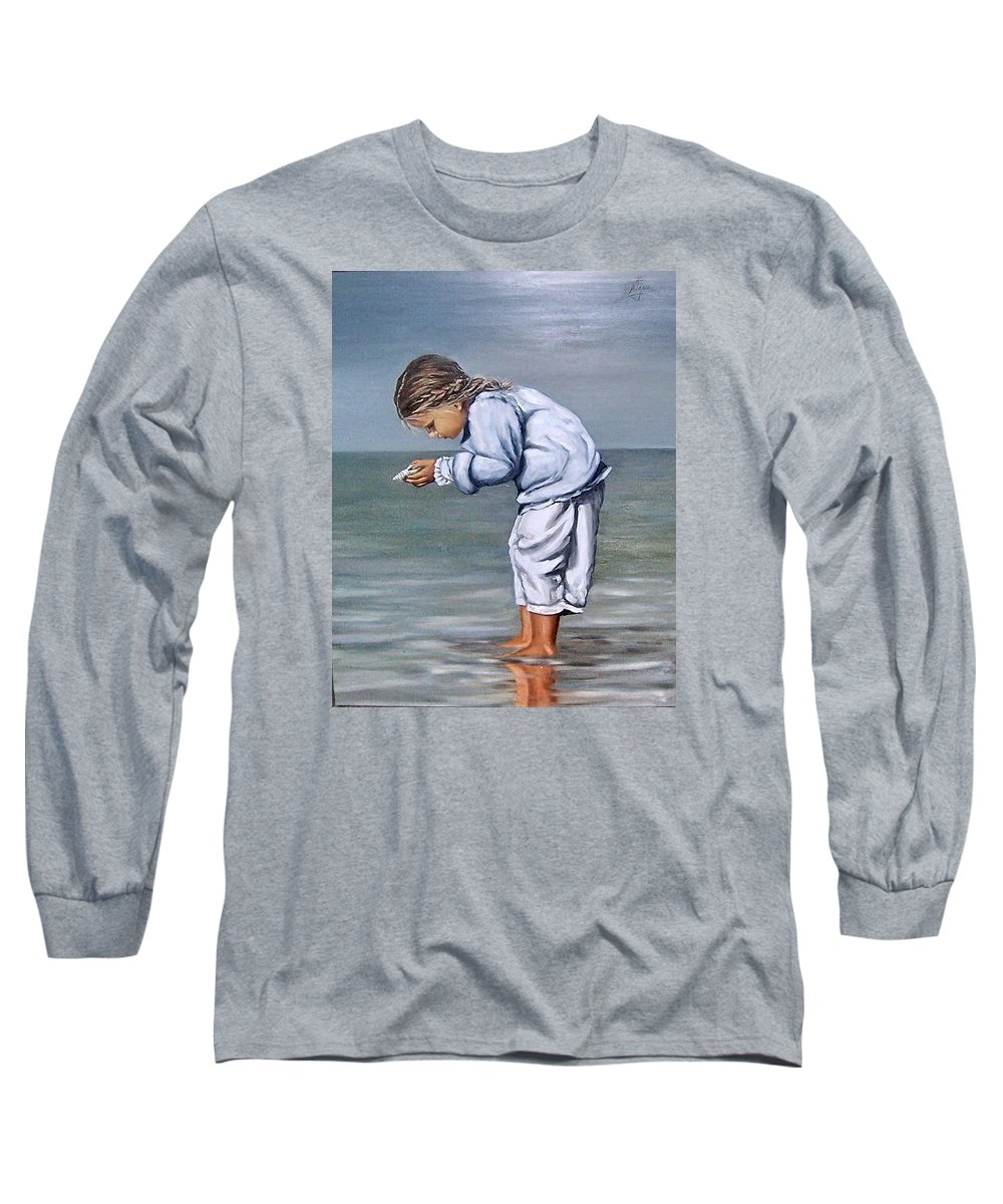 Kid Girl Seascape Sea Children Reflection Water Sea Shell Figurative Long Sleeve T-Shirt featuring the painting Girl With Shell by Natalia Tejera