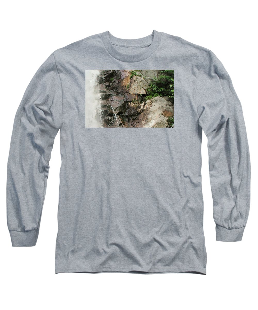 Waterfall Long Sleeve T-Shirt featuring the photograph Glen Falls Abstract by Dave Martsolf