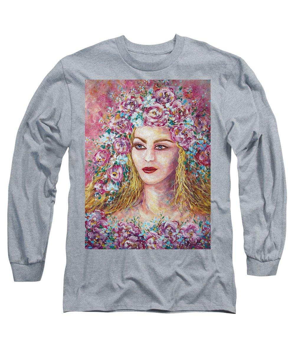 Goddess Of Good Fortune Long Sleeve T-Shirt featuring the painting Goddess Of Good Fortune by Natalie Holland