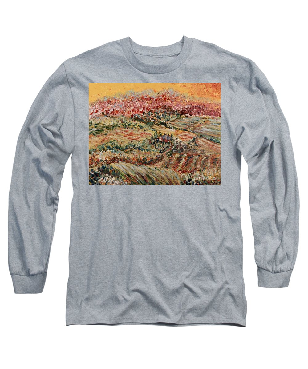 Provence Long Sleeve T-Shirt featuring the painting Golden Provence by Nadine Rippelmeyer