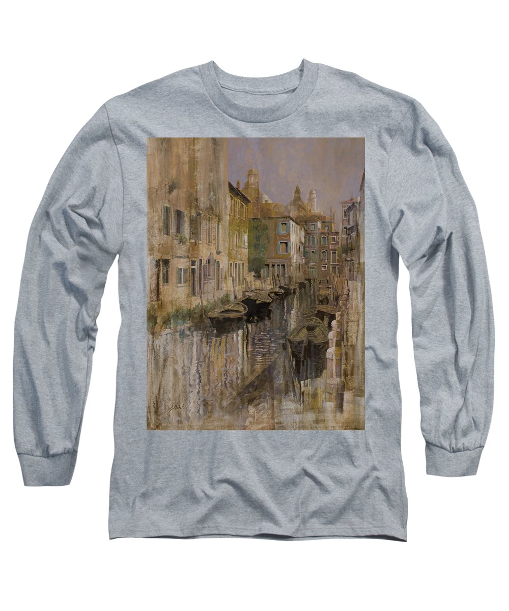 Venice Long Sleeve T-Shirt featuring the painting Golden Venice by Guido Borelli