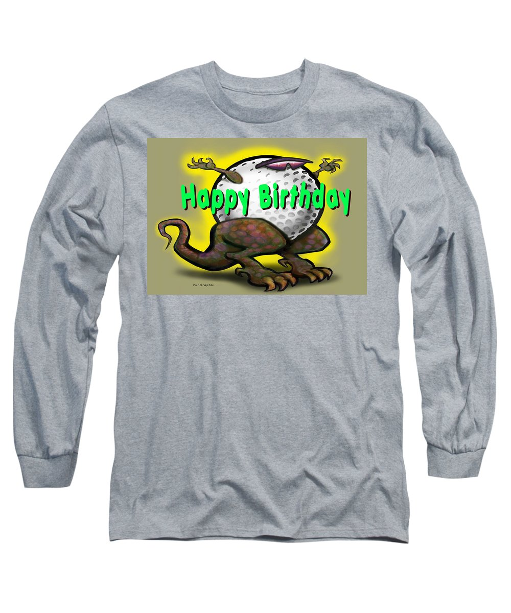 Golf Long Sleeve T-Shirt featuring the greeting card Golf A Saurus Birthday by Kevin Middleton