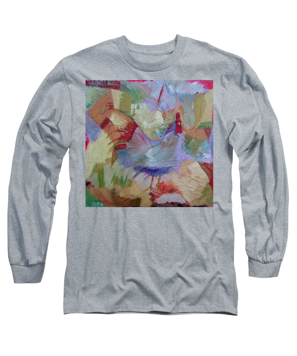 Chicken Paintings Long Sleeve T-Shirt featuring the painting Good Morning by Ginger Concepcion