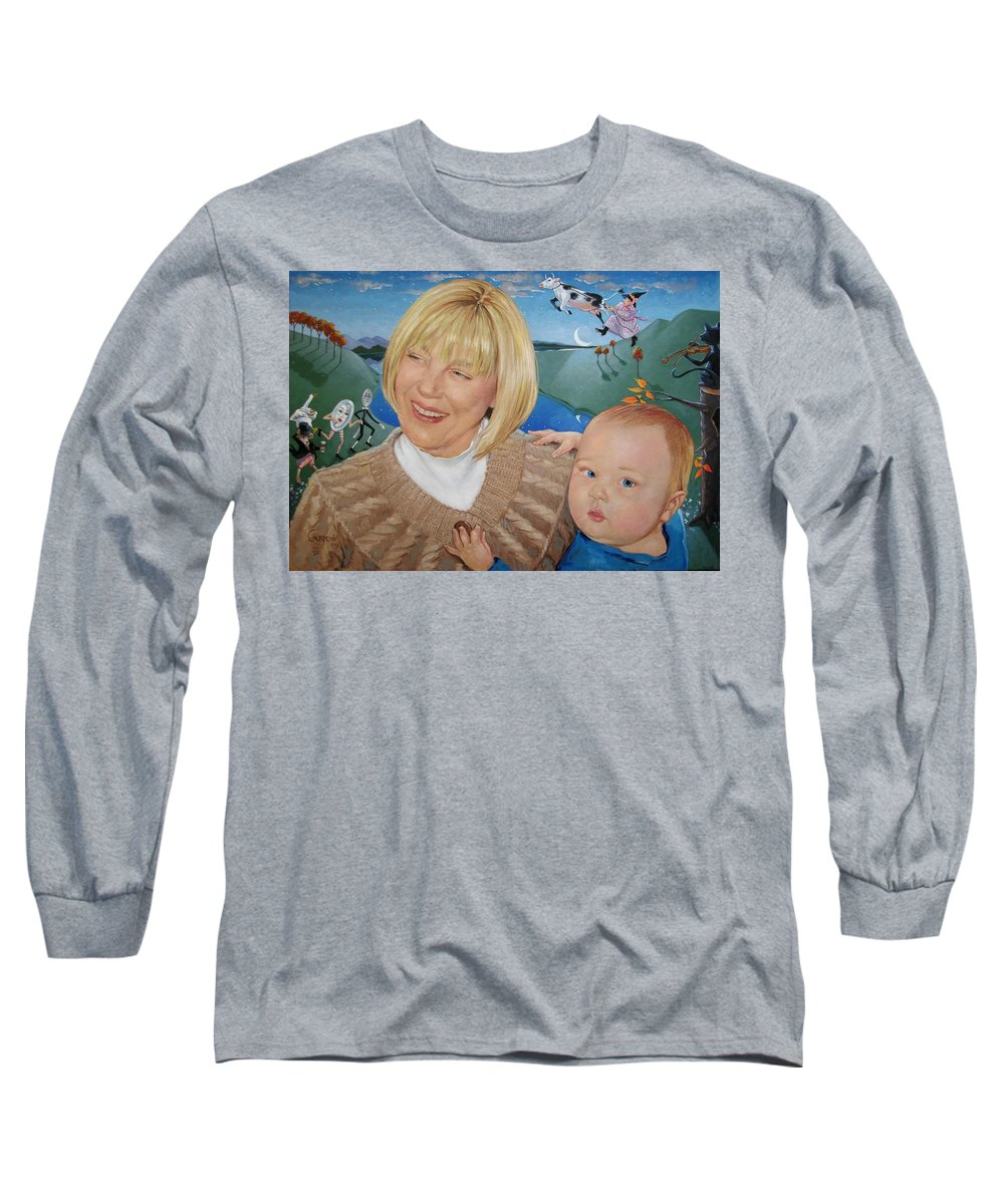 Portrait Long Sleeve T-Shirt featuring the painting Grandma And Kaidin by Jerrold Carton