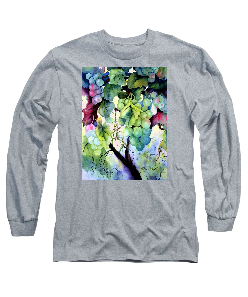 Grapes Long Sleeve T-Shirt featuring the painting Grapes II by Karen Stark