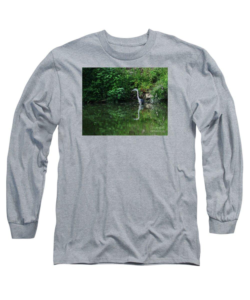 Lanscape Water Bird Crane Heron Blue Green Flowers Great Photograph Long Sleeve T-Shirt featuring the photograph Great Blue Heron Hunting Fish by Dawn Downour