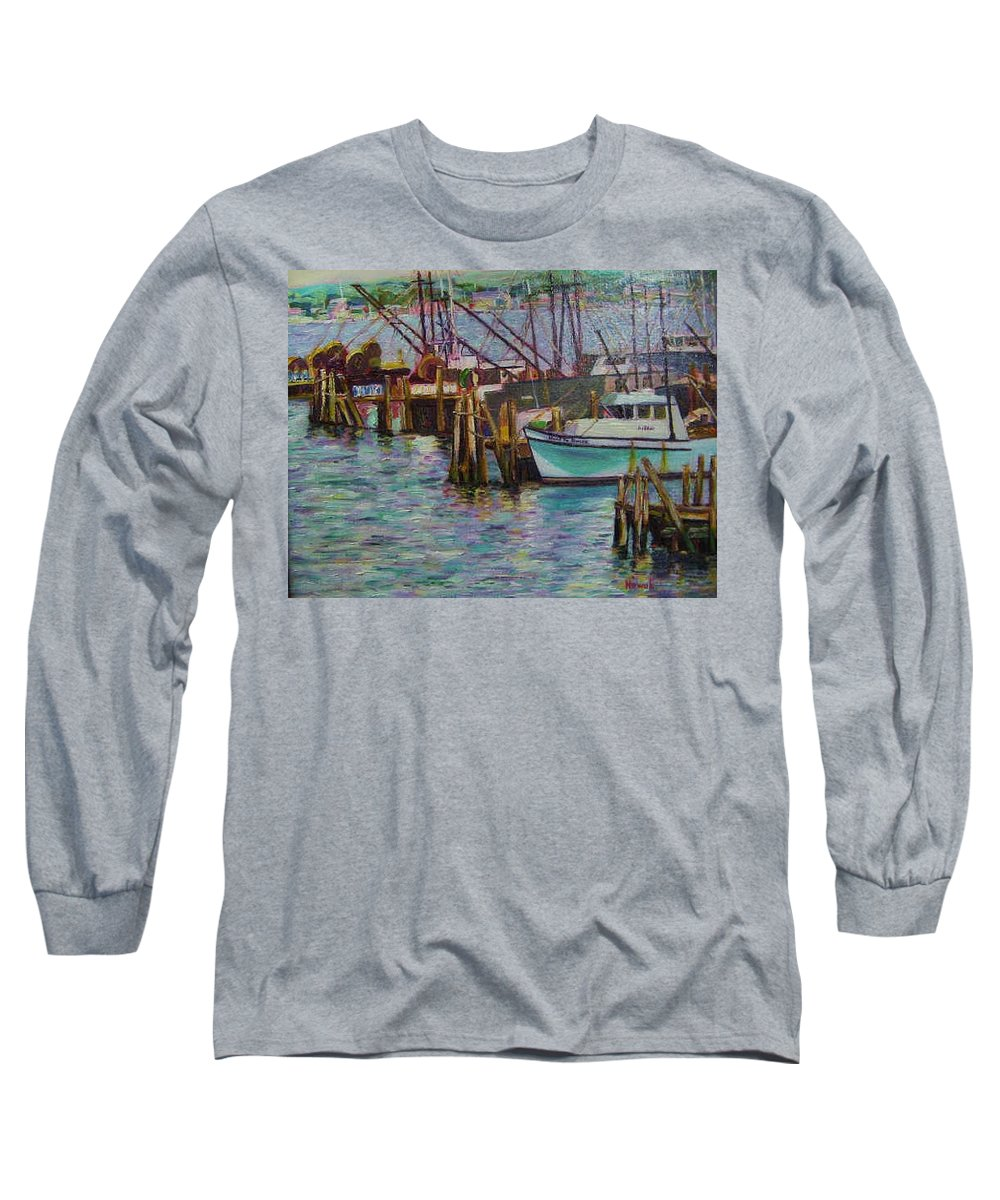 Boat Long Sleeve T-Shirt featuring the painting Green Boat At Rest- Nova Scotia by Richard Nowak