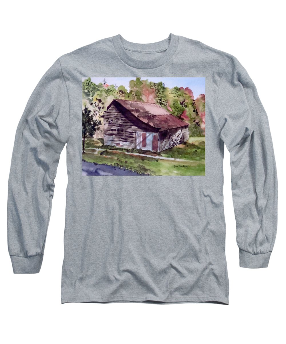 Barns Long Sleeve T-Shirt featuring the painting Green Creek Barn by Jean Blackmer