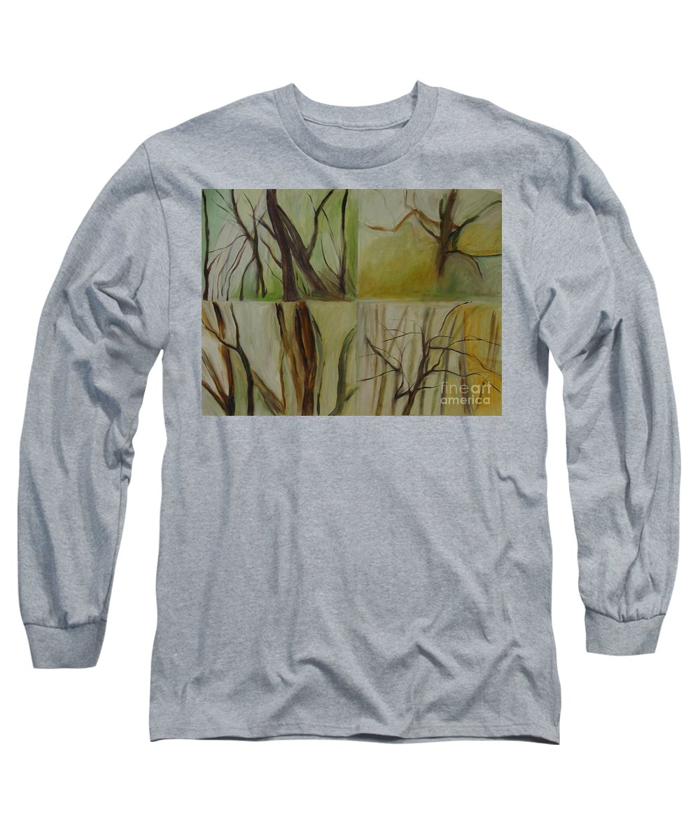 Spring Young Trees Saplings Trees Long Sleeve T-Shirt featuring the painting Green Sonnet by Leila Atkinson