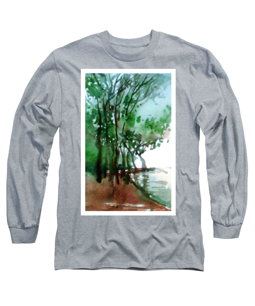Water Color Long Sleeve T-Shirt featuring the painting Greens by Anil Nene
