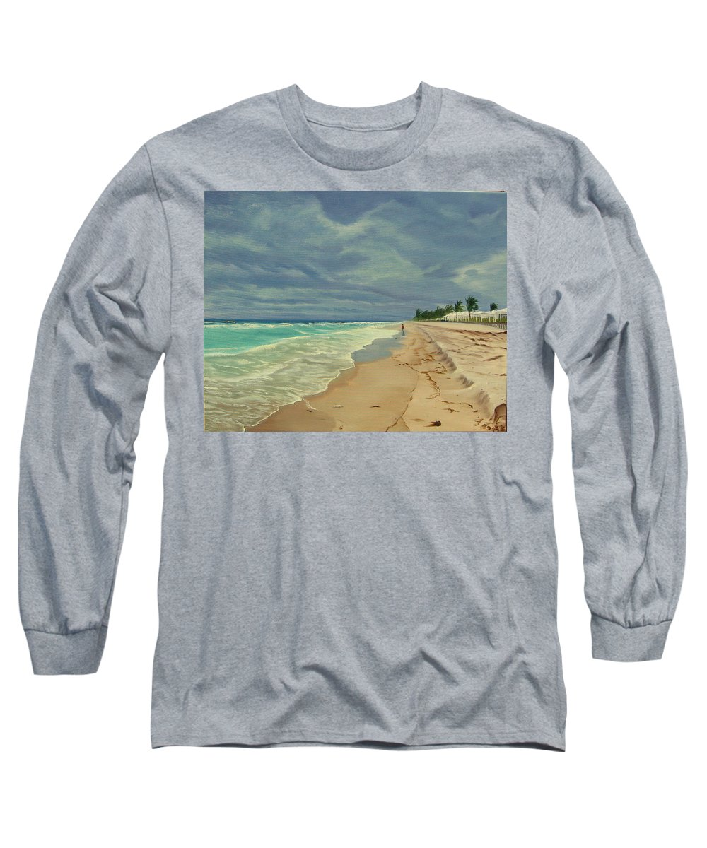 Beach Long Sleeve T-Shirt featuring the painting Grey Day On The Beach by Lea Novak