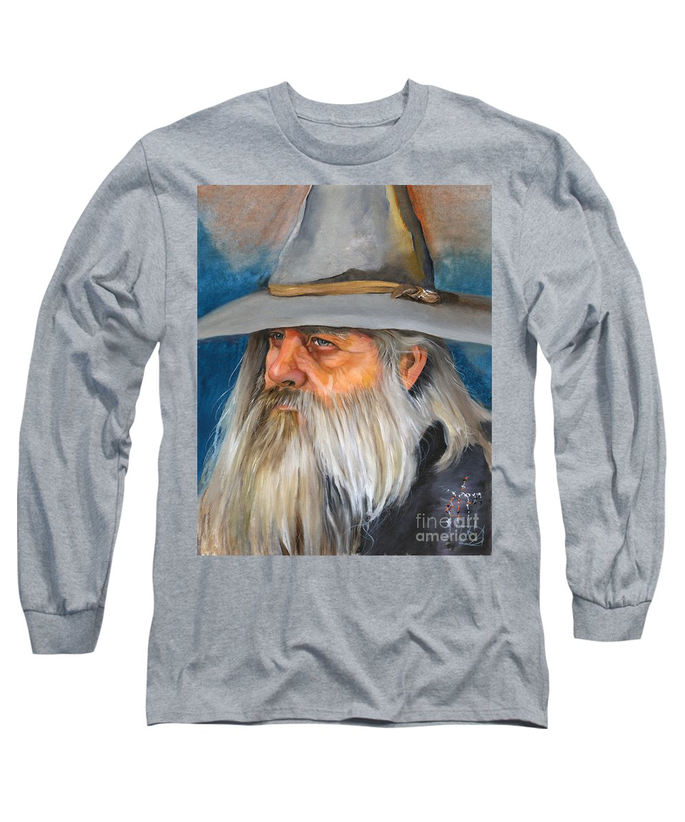 Wizard Long Sleeve T-Shirt featuring the painting Grey Days by J W Baker