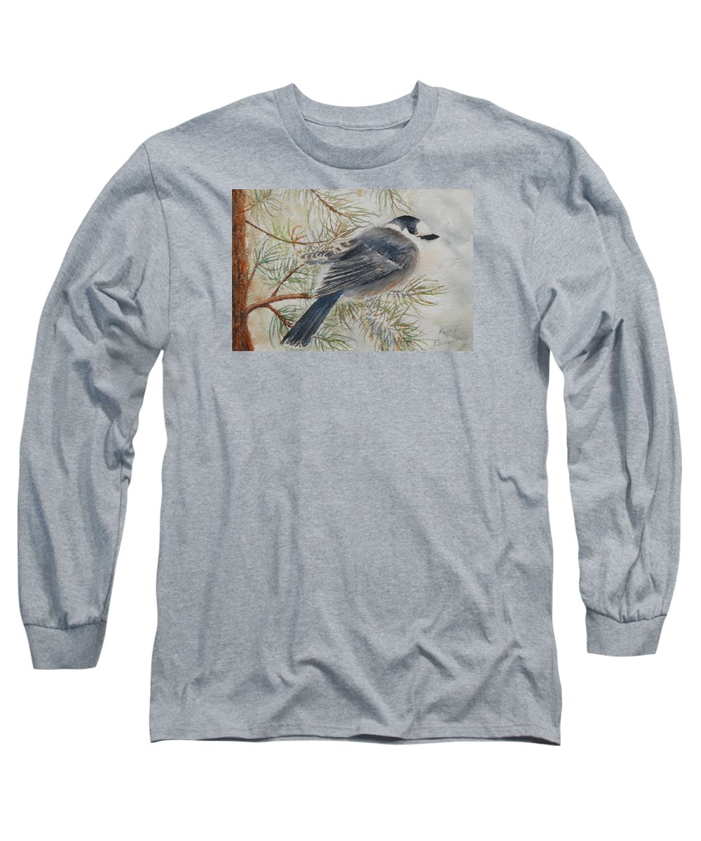 Bird Long Sleeve T-Shirt featuring the painting Grey Jay by Ruth Kamenev