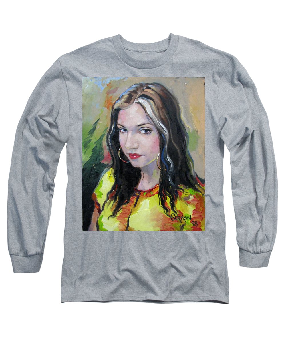 Gypsy Long Sleeve T-Shirt featuring the painting Gypsy Girl by Jerrold Carton